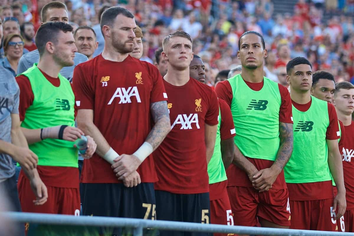 SOUTH BEND, INDIANA, USA - Friday, July 19, 2019: Liverpool's substitutes goalkeeper Andy Lonergan, Daniel Atherton, Georginio Wijnaldum, Virgil van Dijk, Ki-Jana Hoever, Trent Alexander-Arnold, Ben Woodburn, Curtis Jones line-up before a friendly match between Liverpool FC and Borussia Dortmund at the Notre Dame Stadium on day four of the club's pre-season tour of America. (Pic by David Rawcliffe/Propaganda)