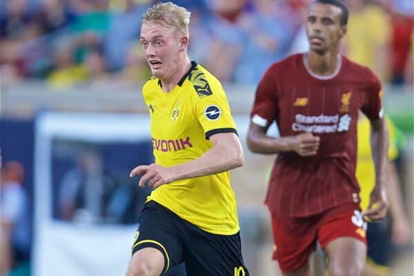 SOUTH BEND, INDIANA, USA - Friday, July 19, 2019: Borussia Dortmund's Julian Brandt during a friendly match between Liverpool FC and Borussia Dortmund at the Notre Dame Stadium on day four of the club's pre-season tour of America. (Pic by David Rawcliffe/Propaganda)