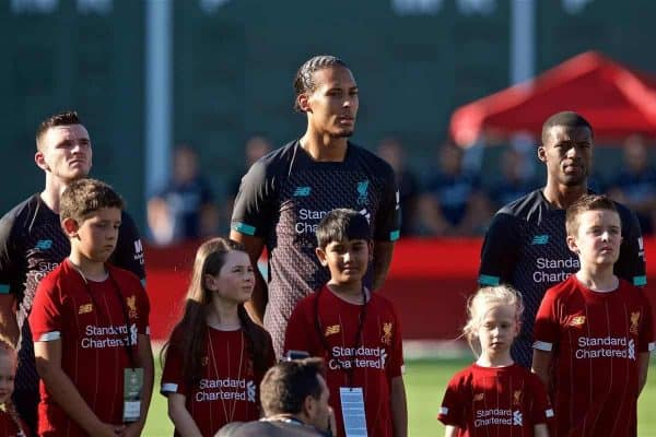 Liverpool's Andy Robertson, Virgil van Dijk and Georginio Wijnaldum before a friendly against Sevilla FC at Fenway Park on day six of the club's pre-season tour of America. (Pic by David Rawcliffe/Propaganda)