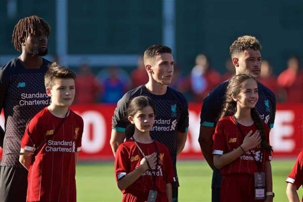 Liverpool's Divock Origi, Harry Wilson and Alex Oxlade-Chamberlain before a friendly against Sevilla FC at Fenway Park on day six of the club's pre-season tour of America. (Pic by David Rawcliffe/Propaganda)