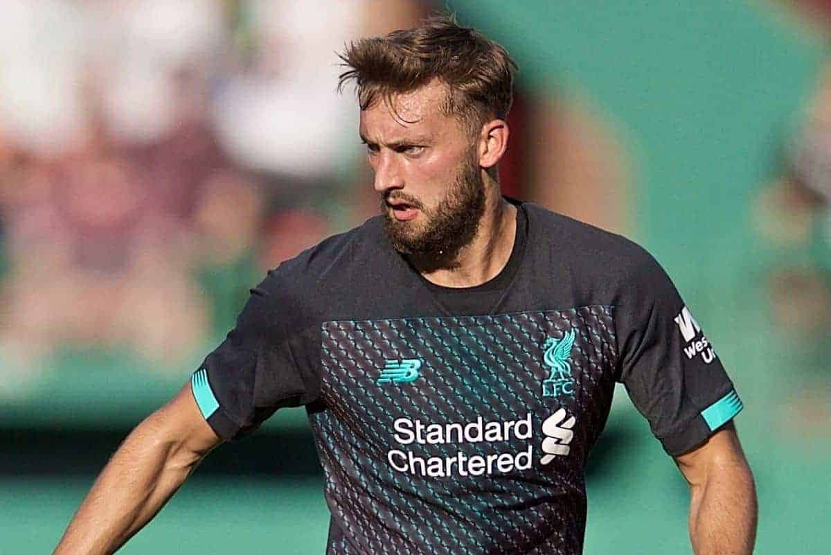 BOSTON, MASSACHUSETTS, USA - Sunday, July 21, 2019: Liverpool's Nathaniel Phillips during a friendly between Liverpool FC and Sevilla FC at Fenway Park on day six of the club's pre-season tour of America. (Pic by David Rawcliffe/Propaganda)