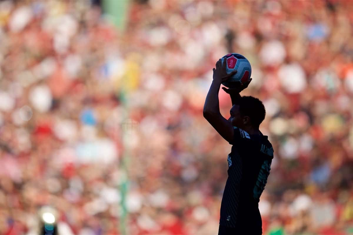 BOSTON, MASSACHUSETTS, USA - Sunday, July 21, 2019: Liverpool's Trent Alexander-Arnold takes a throw-in during a friendly between Liverpool FC and Sevilla FC at Fenway Park on day six of the club's pre-season tour of America. (Pic by David Rawcliffe/Propaganda)