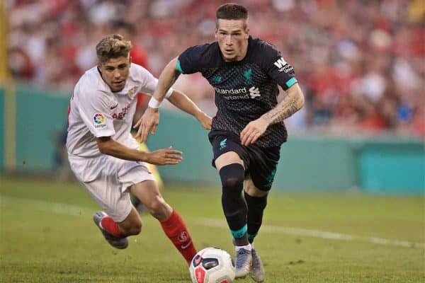 BOSTON, MASSACHUSETTS, USA - Sunday, July 21, 2019: Liverpool's Ryan Kent during a friendly against Sevilla FC at Fenway Park on day six of the club's pre-season tour of America. (Pic by David Rawcliffe/Propaganda)
