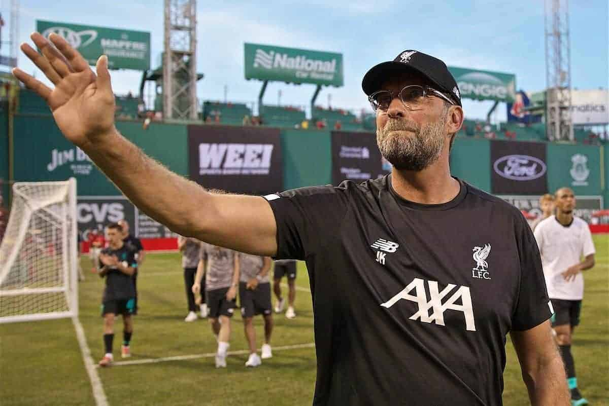 BOSTON, MASSACHUSETTS, USA - Sunday, July 21, 2019: Liverpool manager Jürgen Klopp on a lap of honour to greet the supporters after a friendly between Liverpool FC and Sevilla FC at Fenway Park on day six of the club's pre-season tour of America. (Pic by David Rawcliffe/Propaganda)