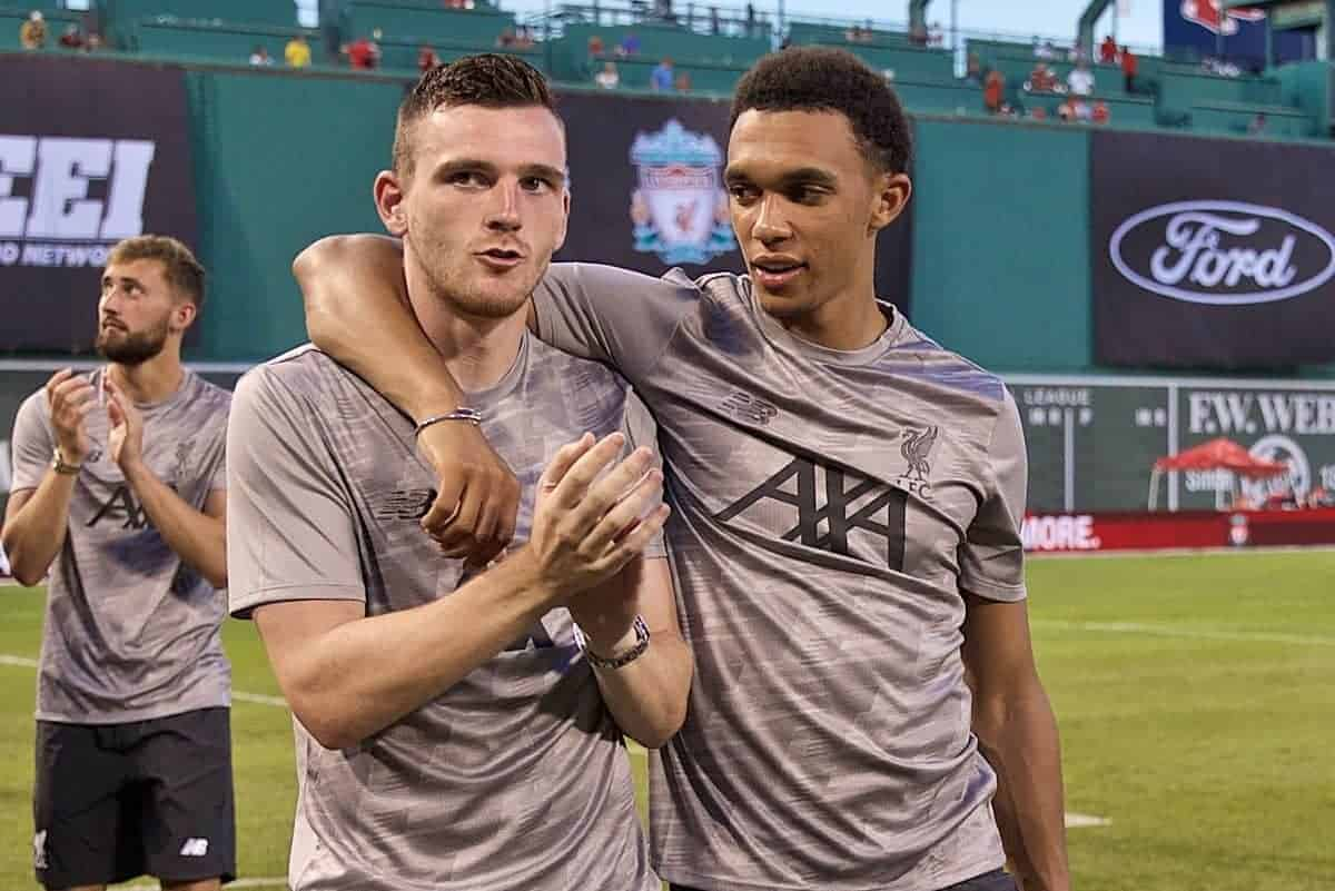 BOSTON, MASSACHUSETTS, USA - Sunday, July 21, 2019: Liverpool's Andy Robertson and Trent Alexander-Arnold after a friendly between Liverpool FC and Sevilla FC at Fenway Park on day six of the club's pre-season tour of America. (Pic by David Rawcliffe/Propaganda)