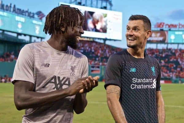 BOSTON, MASSACHUSETTS, USA - Sunday, July 21, 2019: Liverpool's Divock Origi (L) and Dejan Lovren after a friendly between Liverpool FC and Sevilla FC at Fenway Park on day six of the club's pre-season tour of America. (Pic by David Rawcliffe/Propaganda)