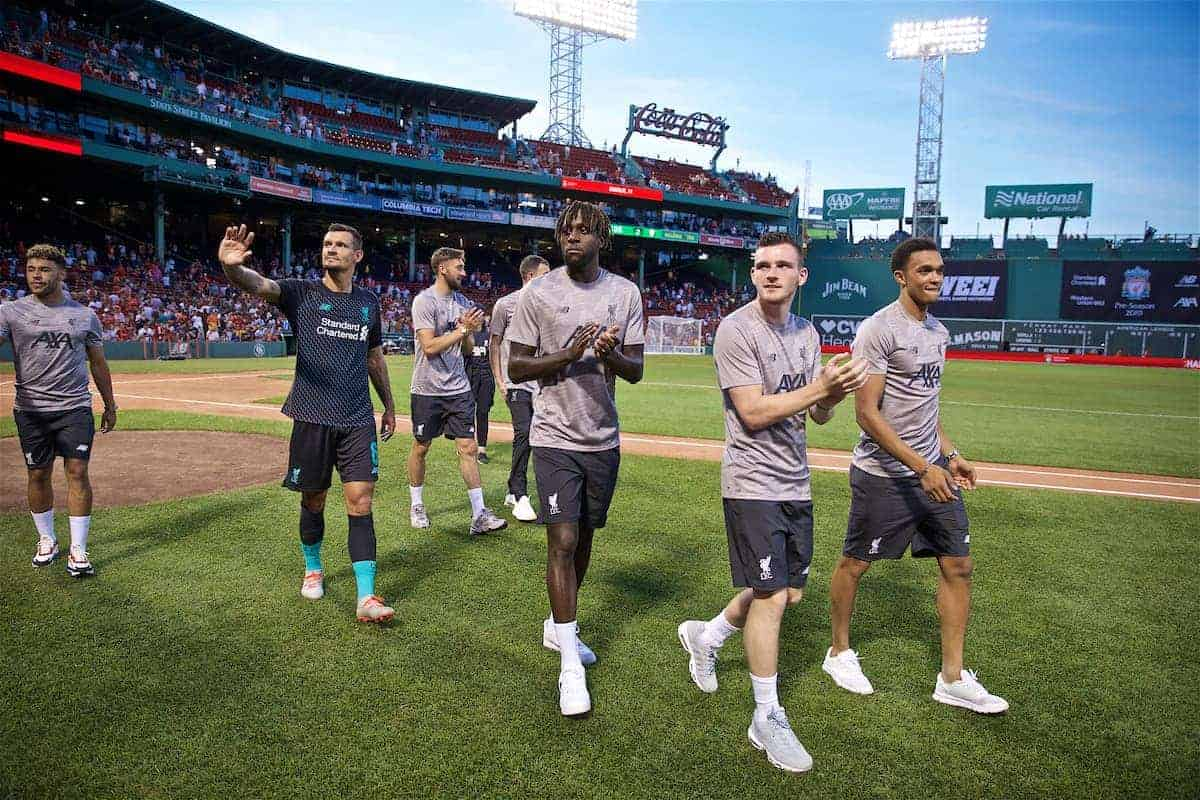 BOSTON, MASSACHUSETTS, USA - Sunday, July 21, 2019: Liverpool Dejan Lovren, Divock Origi, Andy Robertson and Trent Alexander-Arnold on a lap of honour to greet the supporters after a friendly between Liverpool FC and Sevilla FC at Fenway Park on day six of the club's pre-season tour of America. (Pic by David Rawcliffe/Propaganda)