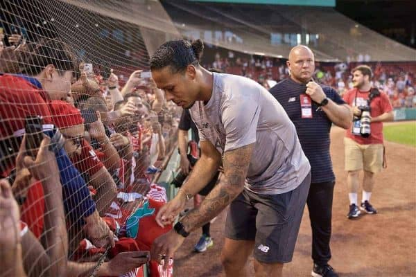 BOSTON, MASSACHUSETTS, USA - Sunday, July 21, 2019: Liverpool Virgil van Dijk signs autographs for supporters after a friendly between Liverpool FC and Sevilla FC at Fenway Park on day six of the club's pre-season tour of America. (Pic by David Rawcliffe/Propaganda)