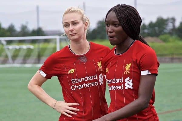 BOSTON, MASSACHUSETTS, USA - Monday, July 22, 2019: Liverpool's Rhiannon Roberts and Rinsola Babajide before a friendly match between Liverpool FC Women and Metropolitan Conference All Stars at Jordan Field at the Harvard Stadium on day seven of the club's pre-season tour of America. (Pic by David Rawcliffe/Propaganda)