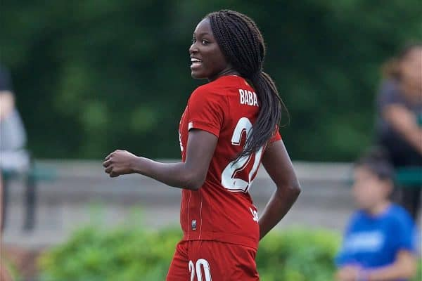 BOSTON, MASSACHUSETTS, USA - Monday, July 22, 2019: Liverpool's Rinsola Babajide celebrates scoring the third goal during a friendly match between Liverpool FC Women and Metropolitan Conference All Stars at Jordan Field at the Harvard Stadium on day seven of the club's pre-season tour of America. (Pic by David Rawcliffe/Propaganda)