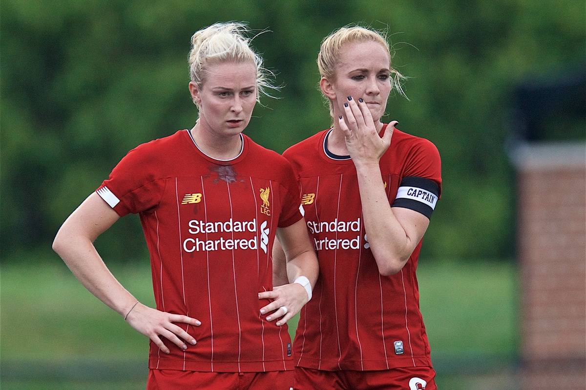 BOSTON, MASSACHUSETTS, USA - Monday, July 22, 2019: Liverpool's Rhiannon Roberts (L) and Sophie Bradley-Auckland during a friendly match between Liverpool FC Women and Metropolitan Conference All Stars at Jordan Field at the Harvard Stadium on day seven of the club's pre-season tour of America. (Pic by David Rawcliffe/Propaganda)