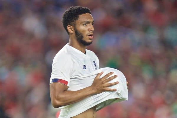 NEW YORK, NEW YORK, USA - Wednesday, July 24, 2019: Liverpool's Joe Gomez prepares to take a throw-in during a friendly match between Liverpool FC and Sporting Clube de Portugal at the Yankee Stadium on day nine of the club's pre-season tour of America. (Pic by David Rawcliffe/Propaganda)