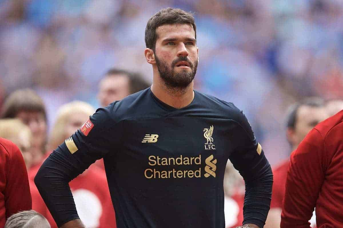 LONDON, ENGLAND - Sunday, August 4, 2019: Liverpool's Andy Robertson, goalkeeper Alisson Becker and captain Jordan Henderson before the FA Community Shield match between Manchester City FC and Liverpool FC at Wembley Stadium. (Pic by David Rawcliffe/Propaganda)