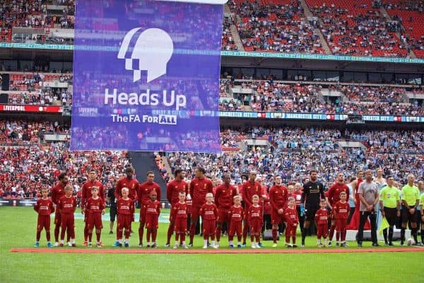 LONDON, ENGLAND - Sunday, August 4, 2019: Liverpool players line-up before the FA Community Shield match between Manchester City FC and Liverpool FC at Wembley Stadium. L-R: Mohamed Salah, Roberto Firmino, Divock Origi, Trent Alexander-Arnold, Joe Gomez, Virgil van Dijk, Georginio Wijnaldum, Nathaniel Clyne, Andy Robertson, goalkeeper Alisson Becker, captain Jordan Henderson. (Pic by David Rawcliffe/Propaganda)