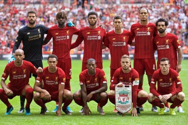 LONDON, ENGLAND - Sunday, August 4, 2019: Liverpool's players line-up for a team group photograph before the FA Community Shield match between Manchester City FC and Liverpool FC at Wembley Stadium. Back row L-R: goalkeeper Alisson Becker, Divock Origi, Joe Gomez, Roberto Firmino, Virgil van Dijk, Mohamed Salah. Front row L-R: Fabio Henrique Tavares 'Fabinho', Trent Alexander-Arnold, Georginio Wijnaldum, captain Jordan Henderson, Andy Robertson. (Pic by David Rawcliffe/Propaganda)
