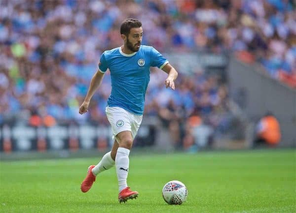 LONDON, ENGLAND - Sunday, August 4, 2019: Manchester City's Bernardo Silva during the FA Community Shield match between Manchester City FC and Liverpool FC at Wembley Stadium. (Pic by David Rawcliffe/Propaganda)