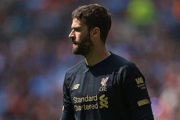 LONDON, ENGLAND - Sunday, August 4, 2019: Liverpool's goalkeeper Alisson Becker during the FA Community Shield match between Manchester City FC and Liverpool FC at Wembley Stadium. (Pic by David Rawcliffe/Propaganda)
