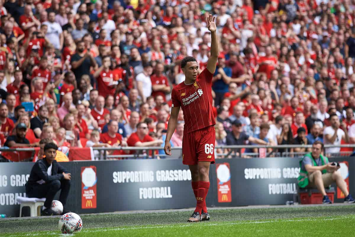 LONDON, ENGLAND - Sunday, August 4, 2019: Liverpool's Trent Alexander-Arnold prepares to take a corner-kick during the FA Community Shield match between Manchester City FC and Liverpool FC at Wembley Stadium. (Pic by David Rawcliffe/Propaganda)