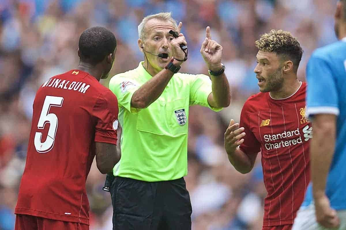 LONDON, ENGLAND - Sunday, August 4, 2019: Referee Martin Atkinson during the FA Community Shield match between Manchester City FC and Liverpool FC at Wembley Stadium. (Pic by David Rawcliffe/Propaganda)