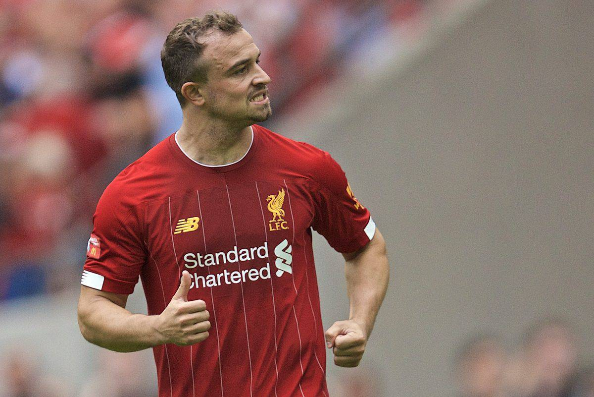 LONDON, ENGLAND - Sunday, August 4, 2019: Liverpool's Xherdan Shaqiri celebrates after scoring the first penalty of the shoot-out during the FA Community Shield match between Manchester City FC and Liverpool FC at Wembley Stadium. Manchester City won 5-4 on penalties after a 1-1 draw. (Pic by David Rawcliffe/Propaganda)