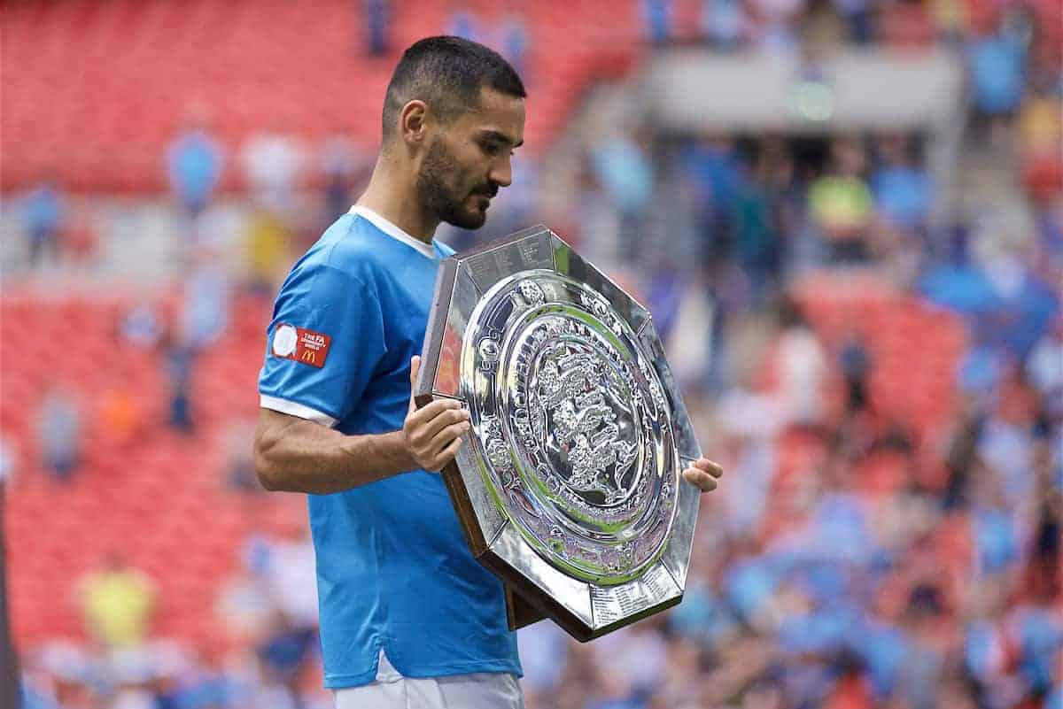 LONDON, ENGLAND - Sunday, August 4, 2019: Manchester City's Ilkay Gundogan with the trophy after the penalty shoot out to decide the FA Community Shield match between Manchester City FC and Liverpool FC at Wembley Stadium. Manchester City won 5-4 on penalties after a 1-1 draw. (Pic by David Rawcliffe/Propaganda)