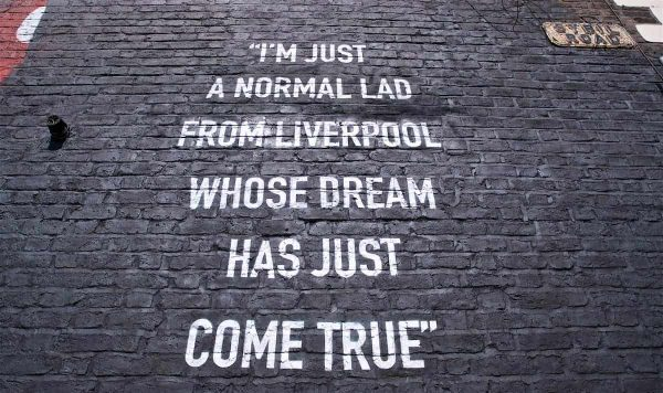 LIVERPOOL, ENGLAND - Thursday, August 8, 2019: A quote from Trent Alexander-Arnold on a mural of the Liverpool defender on the side of a building in Sybil Road, Anfield. The mural was commissioned by The Anfield Wrap and painted by local artist Akse P19. (Pic by David Rawcliffe/Propaganda)