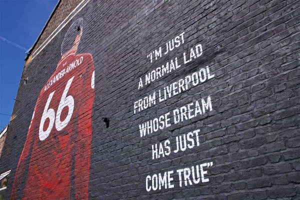 LIVERPOOL, ENGLAND - Thursday, August 8, 2019: A mural of Liverpool's Trent Alexander-Arnold on the side of a building in Sybil Road, Anfield. The mural was commissioned by The Anfield Wrap and painted by local artist Akse P19. (Pic by David Rawcliffe/Propaganda)