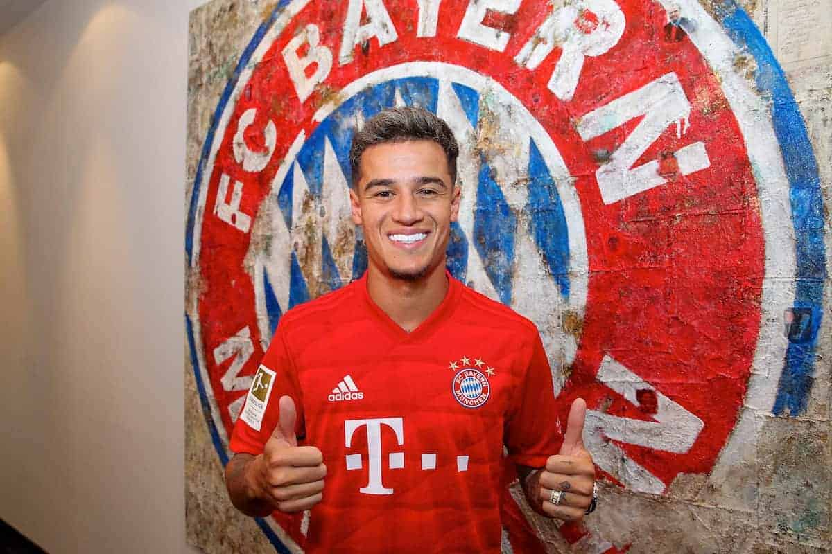 MUNICH, GERMANY - Sunday, August 18, 2019: Philippe Coutinho Correia poses with thumbs-up in his new red Bayern Munich shirt at Bayern Munich's Säbener Straße HQ after completing a loan move from FC Barcelona. (Pic by Handout/Bayern Munich)