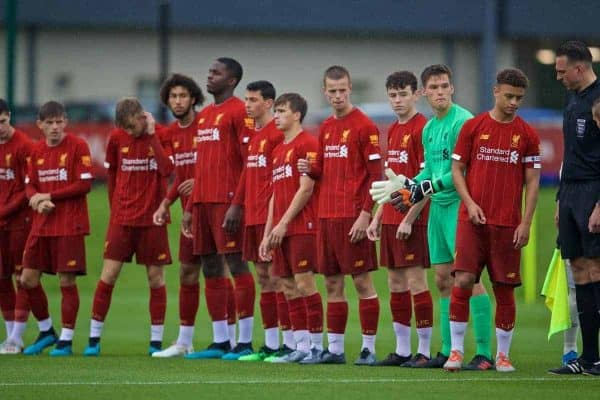 KIRKBY, ENGLAND - Saturday, August 31, 2019: Liverpool players line-up before the Under-18 FA Premier League match between Liverpool FC and Manchester United at the Liverpool Academy. (Pic by David Rawcliffe/Propaganda)