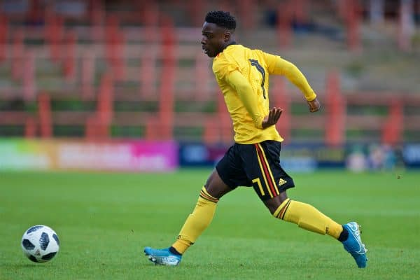 Belgium's Jéremy Doku during the UEFA Under-21 Championship Italy 2019 Qualifying Group 9 match between Wales and Belgium at the Racecourse Ground. (Pic by Laura Malkin/Propaganda)