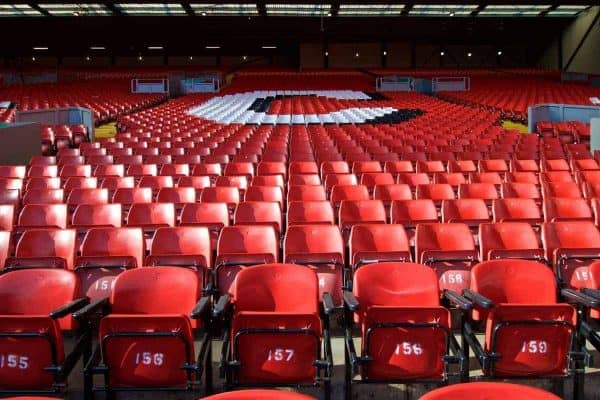 LIVERPOOL, ENGLAND - Saturday, September 14, 2019: Red seats on the Spion Kop pictured before the FA Premier League match between Liverpool FC and Newcastle United FC at Anfield. (Pic by David Rawcliffe/Propaganda)