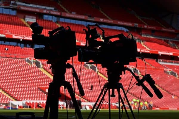 LIVERPOOL, ENGLAND - Saturday, September 14, 2019: A silhouette of television cameras during the FA Premier League match between Liverpool FC and Newcastle United FC at Anfield. (Pic by David Rawcliffe/Propaganda)