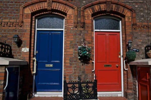 LIVERPOOL, ENGLAND - Saturday, September 14, 2019: Blue and Red doors side-by-side on a street in Anfield pictured before the FA Premier League match between Liverpool FC and Newcastle United FC at Anfield. (Pic by David Rawcliffe/Propaganda)