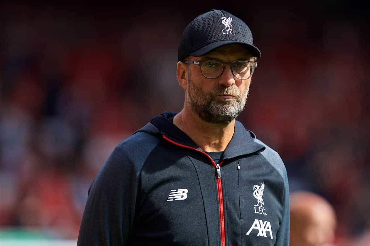 LIVERPOOL, ENGLAND - Saturday, September 14, 2019: Liverpool's manager Jürgen Klopp during the pre-match warm-up before the FA Premier League match between Liverpool FC and Newcastle United FC at Anfield. (Pic by David Rawcliffe/Propaganda)