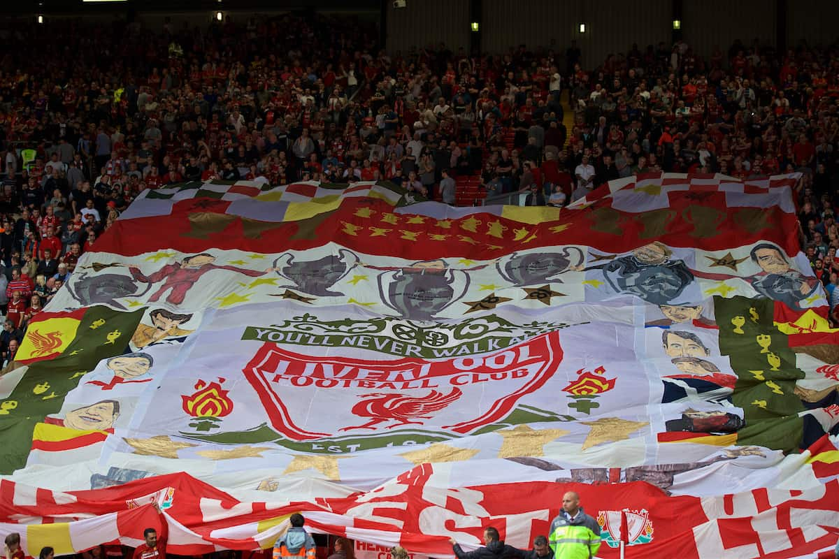 LIVERPOOL, ENGLAND - Saturday, September 14, 2019: A huge banner is unfurled by supporters on the Spion Kop before the FA Premier League match between Liverpool FC and Newcastle United FC at Anfield. (Pic by David Rawcliffe/Propaganda)