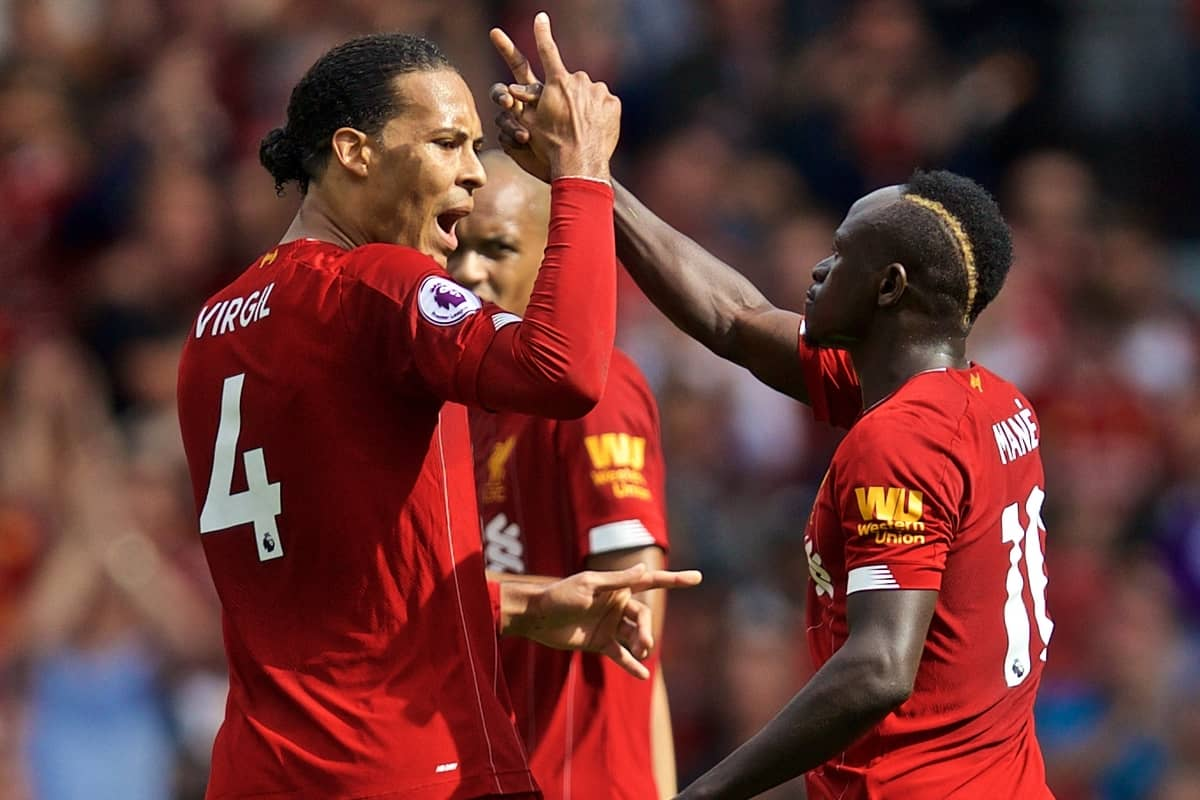 LIVERPOOL, ENGLAND - Saturday, September 14, 2019: Liverpool's Sadio Mane (R) celebrates scoring the first goal with team-mate Virgil van Dijk during the FA Premier League match between Liverpool FC and Newcastle United FC at Anfield. (Pic by David Rawcliffe/Propaganda)