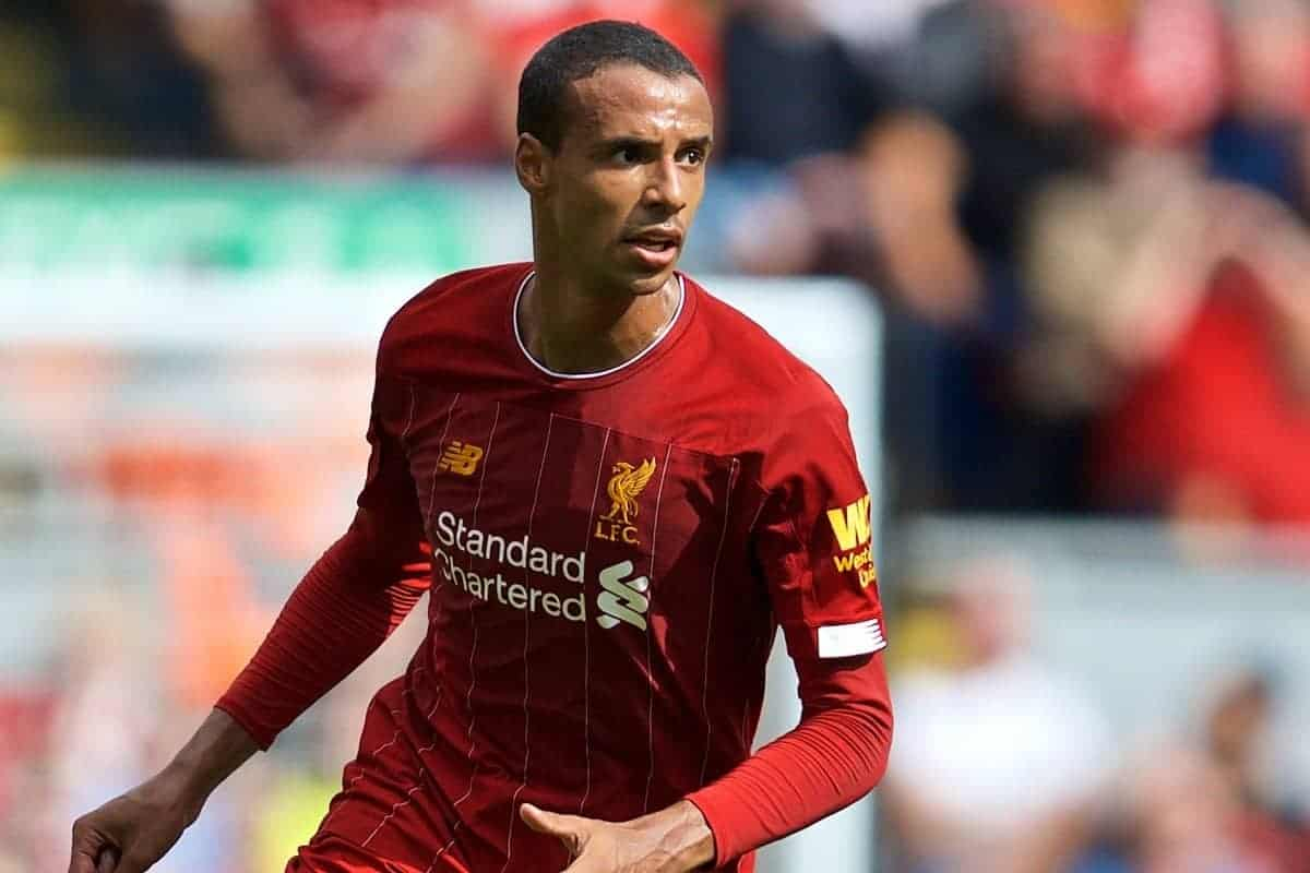 LIVERPOOL, ENGLAND - Saturday, September 14, 2019: Liverpool's Joel Matip during the FA Premier League match between Liverpool FC and Newcastle United FC at Anfield. (Pic by David Rawcliffe/Propaganda)