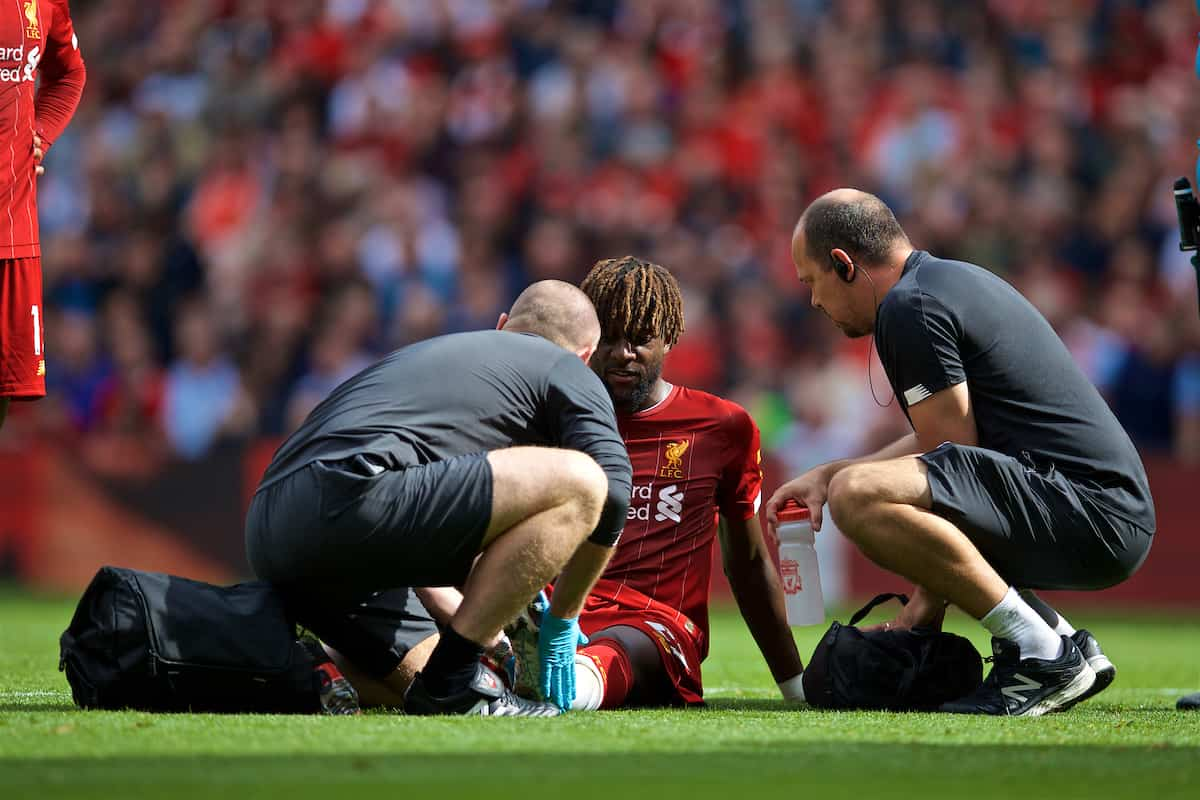 LIVERPOOL, ENGLAND - Saturday, September 14, 2019: Liverpool's Divock Origi goes down with an injury forcing him out of the game during the FA Premier League match between Liverpool FC and Newcastle United FC at Anfield. (Pic by David Rawcliffe/Propaganda)