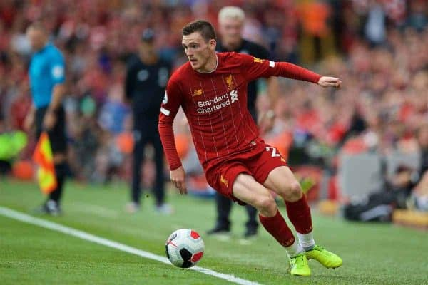LIVERPOOL, ENGLAND - Saturday, September 14, 2019: Liverpool's Andy Robertson during the FA Premier League match between Liverpool FC and Newcastle United FC at Anfield. (Pic by David Rawcliffe/Propaganda)