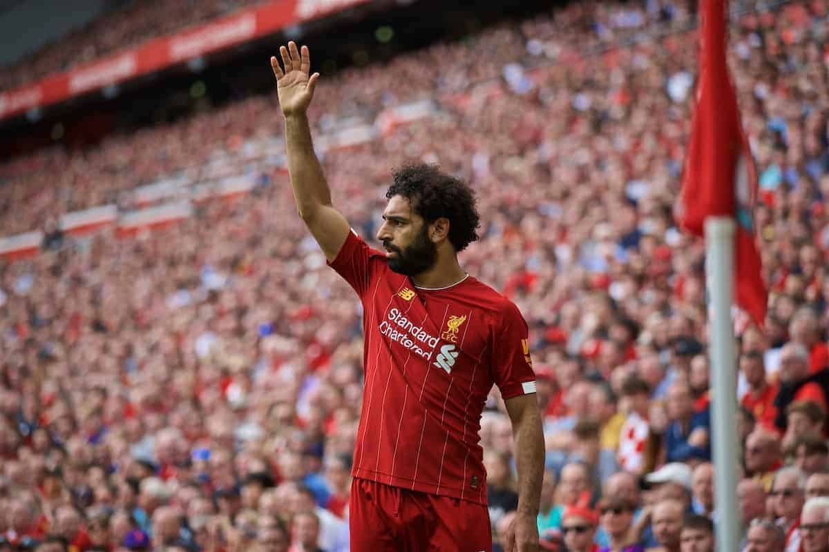 LIVERPOOL, ENGLAND - Saturday, September 14, 2019: Liverpool's Mohamed Salah during the FA Premier League match between Liverpool FC and Newcastle United FC at Anfield. (Pic by David Rawcliffe/Propaganda)
