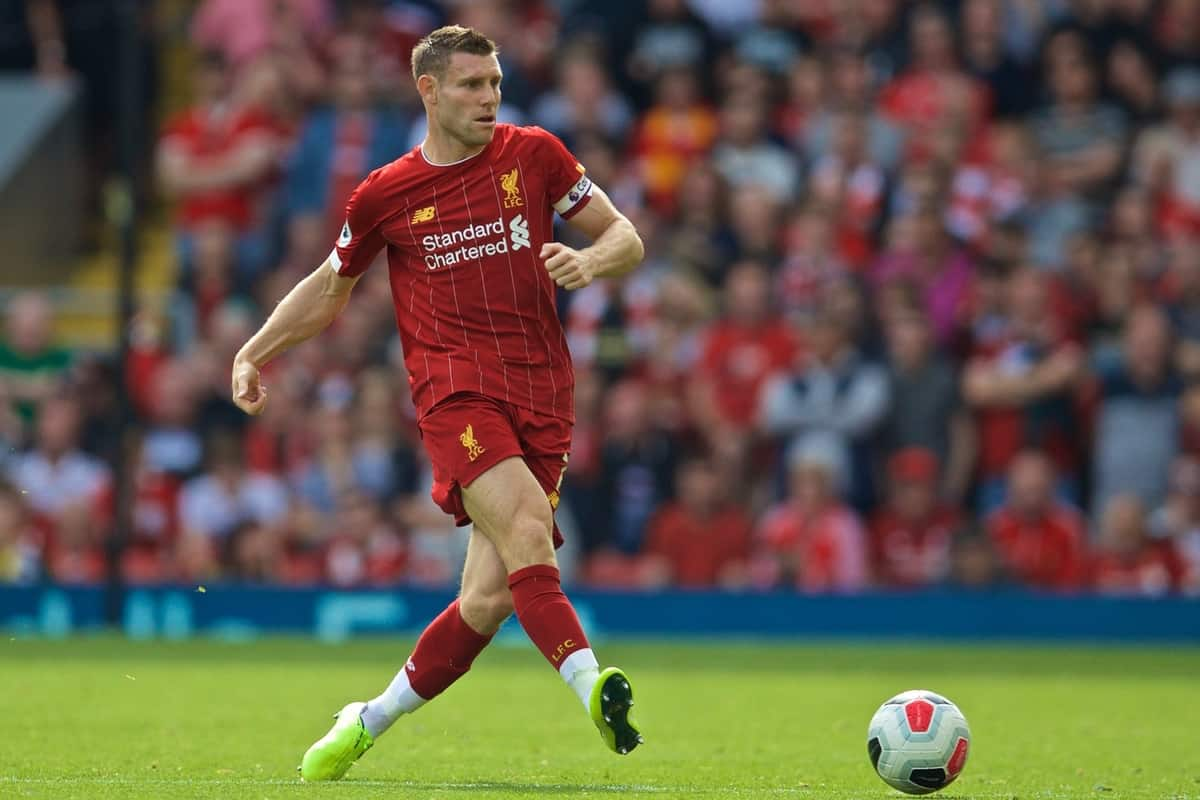 LIVERPOOL, ENGLAND - Saturday, September 14, 2019: Liverpool's James Milner during the FA Premier League match between Liverpool FC and Newcastle United FC at Anfield. (Pic by David Rawcliffe/Propaganda)