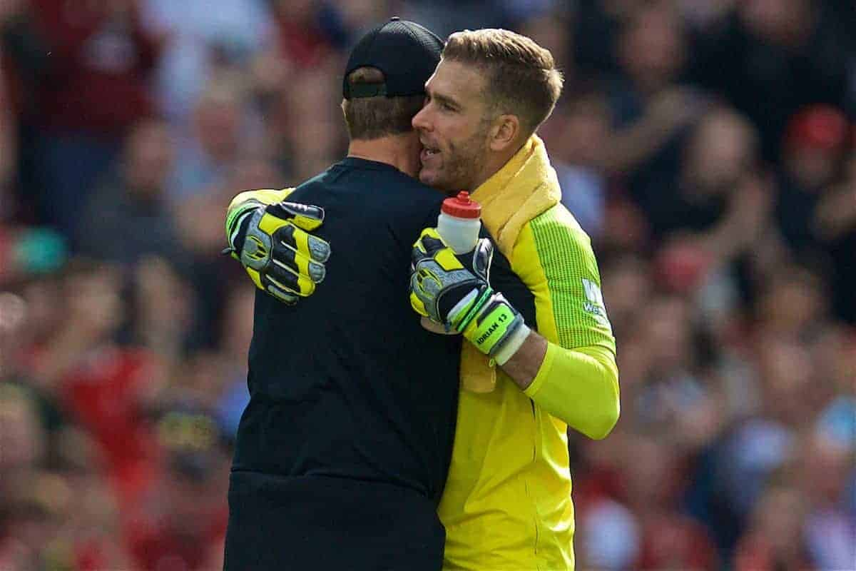 LIVERPOOL, ENGLAND - Saturday, September 14, 2019: Liverpool's goalkeeper Adrián San Miguel del Castillo hugs manager Jürgen Klopp after the FA Premier League match between Liverpool FC and Newcastle United FC at Anfield. Liverpool won 3-1. (Pic by David Rawcliffe/Propaganda)