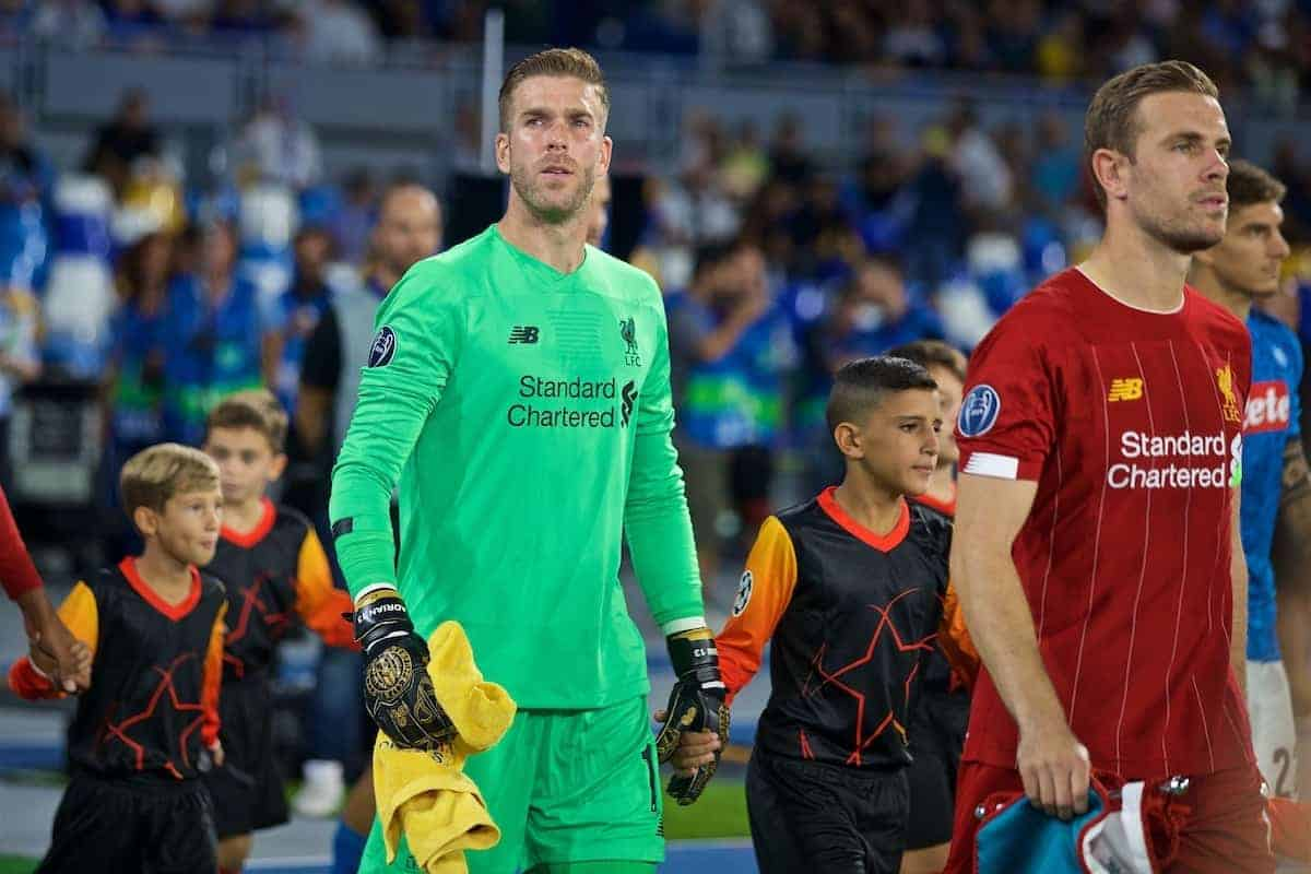 NAPLES, ITALY - Tuesday, September 17, 2019: Liverpool's goalkeeper Adrián San Miguel del Castillo walks out before the UEFA Champions League Group E match between SSC Napoli and Liverpool FC at the Studio San Paolo. (Pic by David Rawcliffe/Propaganda)
