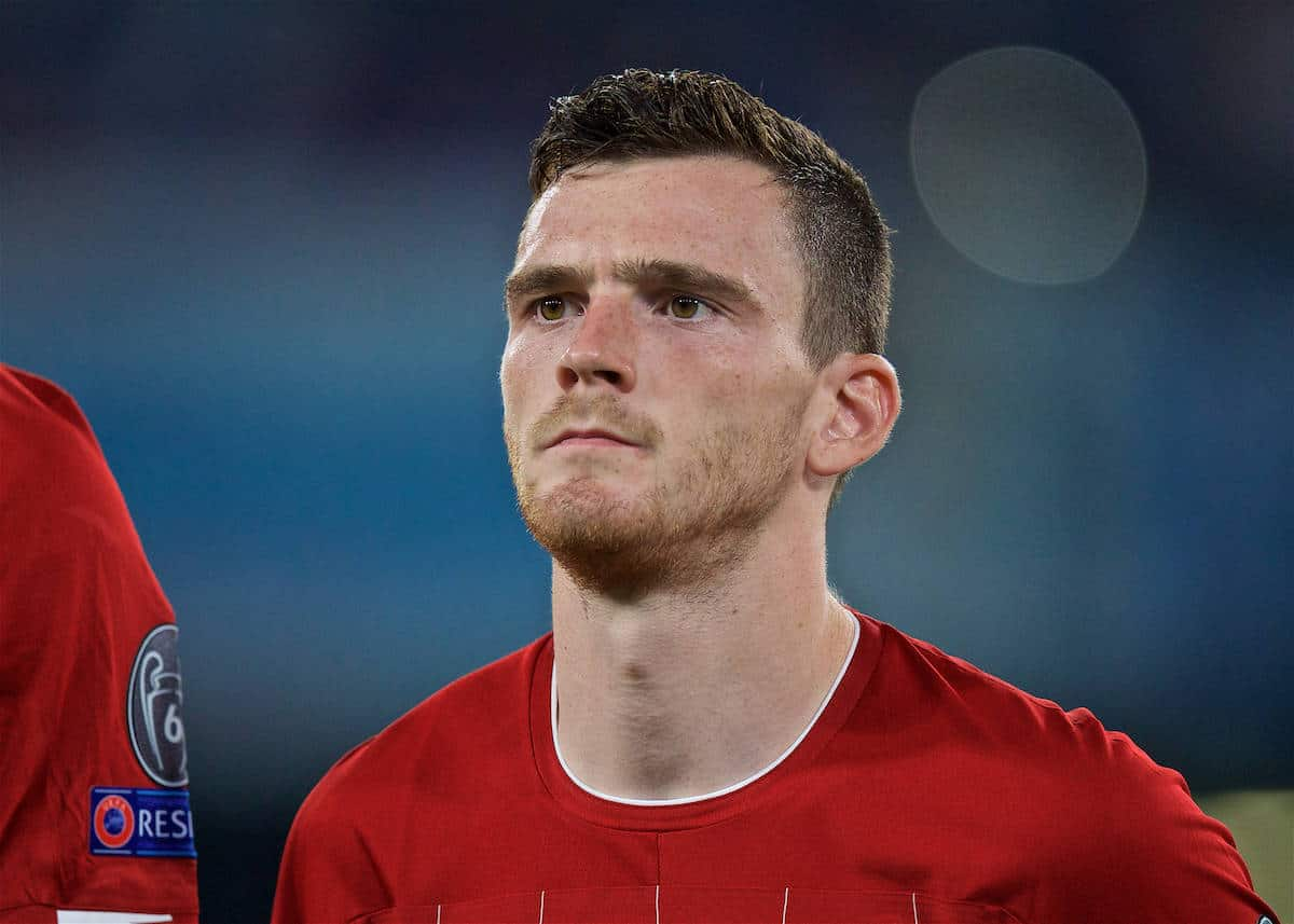 NAPLES, ITALY - Tuesday, September 17, 2019: Liverpool's Andy Robertson lines-up before the UEFA Champions League Group E match between SSC Napoli and Liverpool FC at the Studio San Paolo. (Pic by David Rawcliffe/Propaganda)