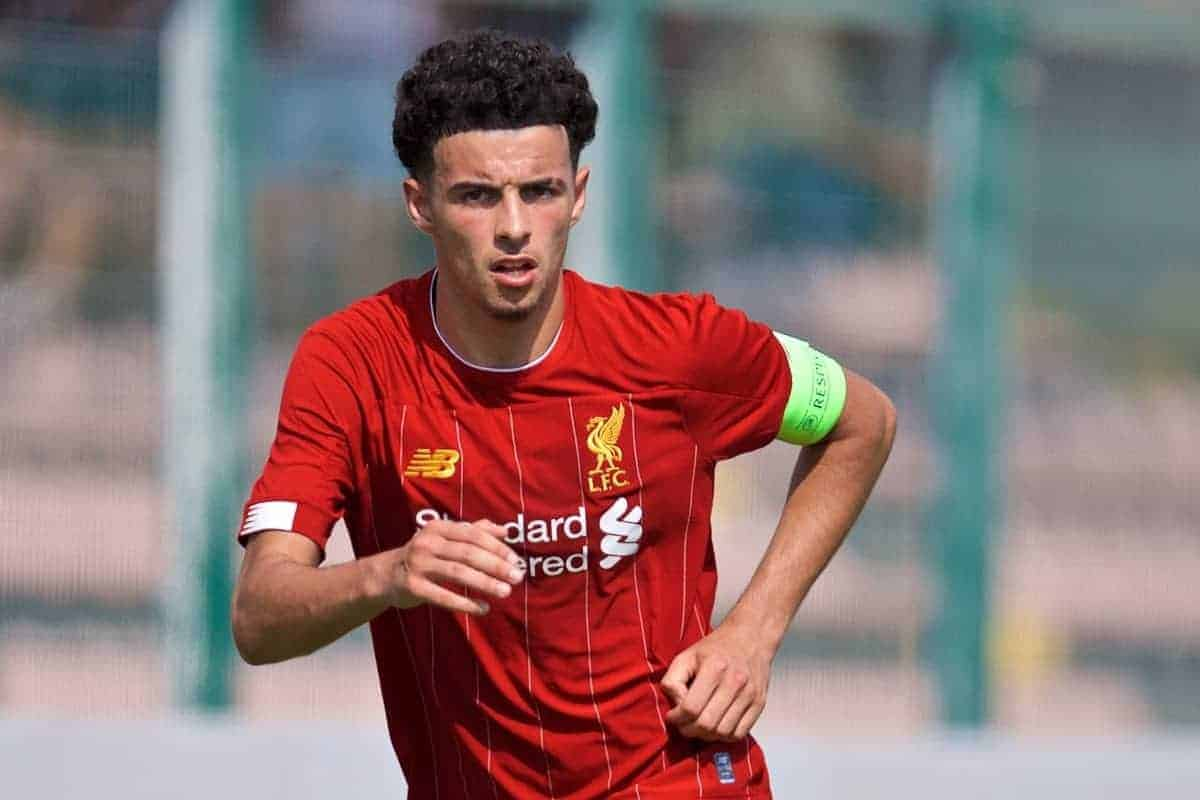 NAPLES, ITALY - Tuesday, September 17, 2019: Liverpool's captain Curtis Jones during the UEFA Youth League Group E match between SSC Napoli and Liverpool FC at Stadio Comunale di Frattamaggiore. (Pic by David Rawcliffe/Propaganda)