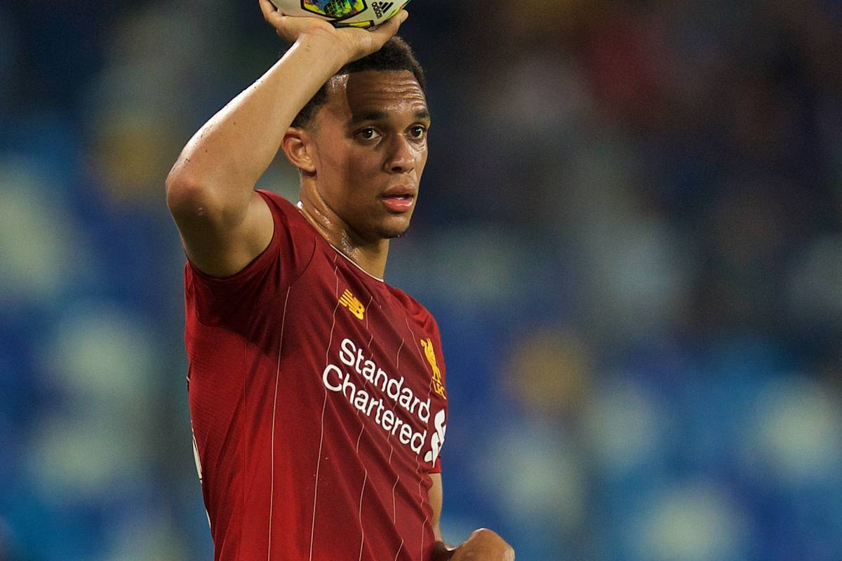 NAPLES, ITALY - Tuesday, September 17, 2019: Liverpool's Trent Alexander-Arnold prepares to take a throw-in during the UEFA Champions League Group E match between SSC Napoli and Liverpool FC at the Studio San Paolo. (Pic by David Rawcliffe/Propaganda)