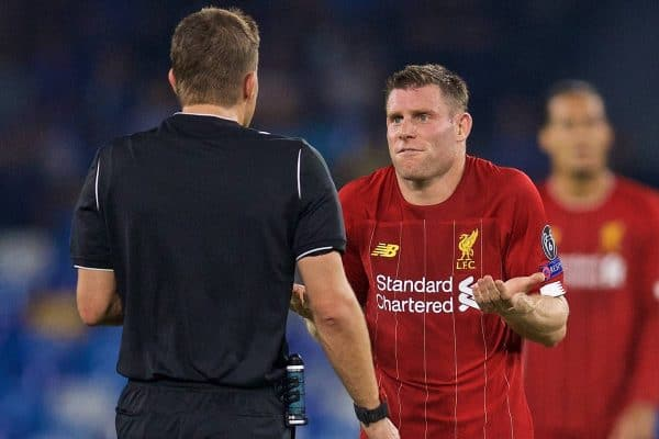 NAPLES, ITALY - Tuesday, September 17, 2019: Liverpool's James Milner remonstrates with referee Felix Brych during the UEFA Champions League Group E match between SSC Napoli and Liverpool FC at the Studio San Paolo. (Pic by David Rawcliffe/Propaganda)