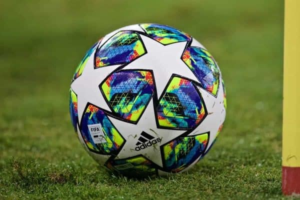 NAPLES, ITALY - Tuesday, September 17, 2019: The official Adidas match ball during the UEFA Champions League Group E match between SSC Napoli and Liverpool FC at the Studio San Paolo. (Pic by David Rawcliffe/Propaganda)
