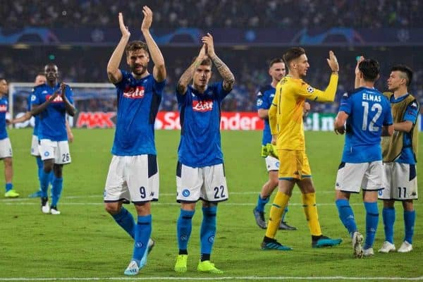 NAPLES, ITALY - Tuesday, September 17, 2019: SSC Napoli's Fernando Llorente and Giovanni Di Lorenzo applaud the supporters after the UEFA Champions League Group E match between SSC Napoli and Liverpool FC at the Studio San Paolo. Napoli won 2-0. (Pic by David Rawcliffe/Propaganda)