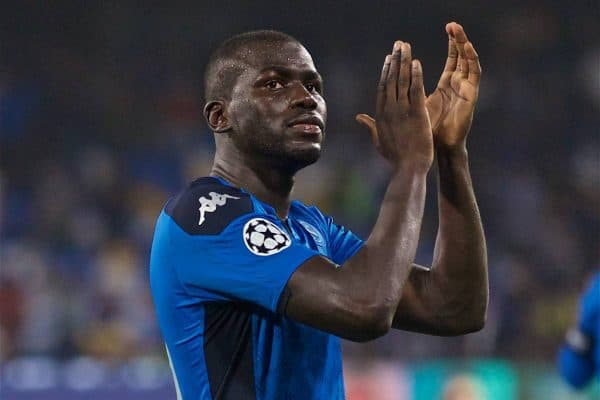 NAPLES, ITALY - Tuesday, September 17, 2019: SSC Napoli's Kalidou Koulibaly applauds the supporters after the UEFA Champions League Group E match between SSC Napoli and Liverpool FC at the Studio San Paolo. Napoli won 2-0. (Pic by David Rawcliffe/Propaganda)
